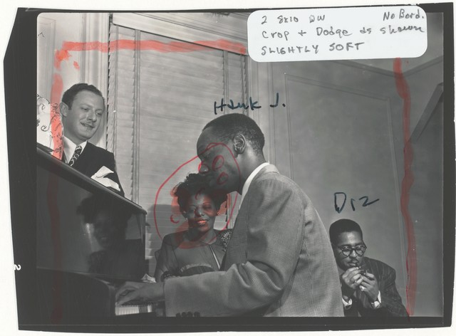 [Portrait of Milt Orent, Mary Lou Williams, Tadd Dameron, and Dizzy Gillespie, Mary Lou Williams' apartment, New York, N.Y., ca. Aug. 1947]