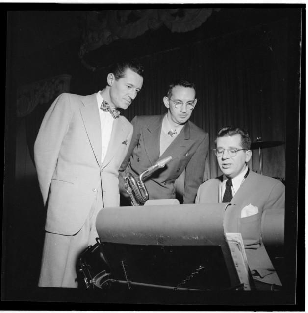 [Portrait of Ray McKinley, Eddie Sauter, and (Robert) Dean Kincaide, Hotel Commodore, Century Room, New York, N.Y., ca. Jan. 1947]