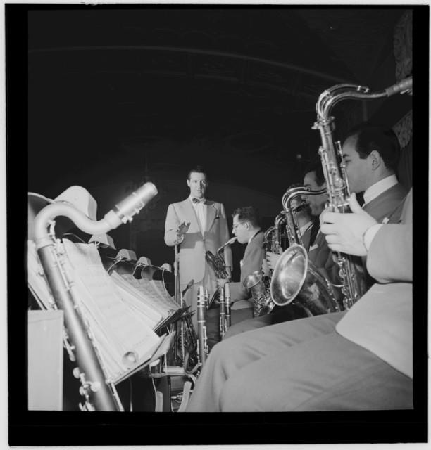 [Portrait of Ray McKinley, (Robert) Dean Kincaide, Bill Ainsworth, Ray Beller, and Peanuts Hucko, Hotel Commodore, Century Room, New York, N.Y., ca. Jan. 1947]