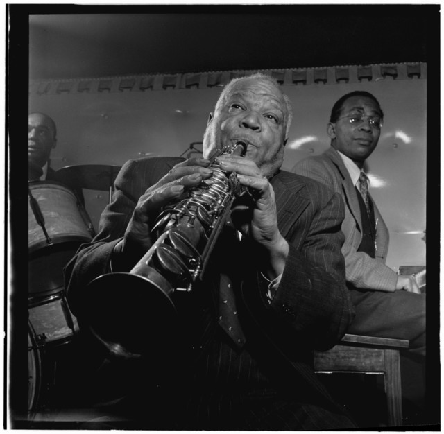 [Portrait of Sidney Bechet, Freddie Moore, and Lloyd Phillips, Jimmy Ryan's (Club), New York, N.Y., ca. June 1947]
