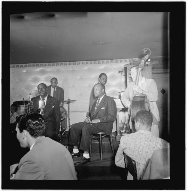 [Portrait of Sidney De Paris, Freddie Moore, Eddie (Emmanuel) Barefield, Sammy Price, and Charlie Traeger, Jimmy Ryan's (Club), New York, N.Y., ca. July 1947]