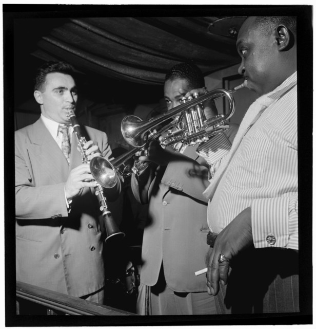 [Portrait of Sol (Solomon) Yaged, Joe Thomas, and Rex William Stewart, Pied Piper, New York, N.Y., ca. Sept. 1947]