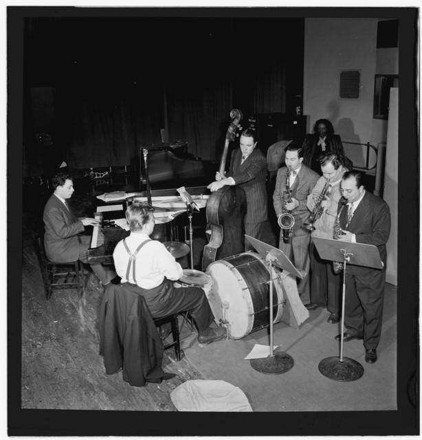 [Portrait of Stan Freeman, Bunny Shawker, Bob Haggart, Art Drelinger, Billy Butterfield, Toots Mondello, and Mary Lou Williams, Columbia studio, New York, N.Y., ca. Mar. 1947]