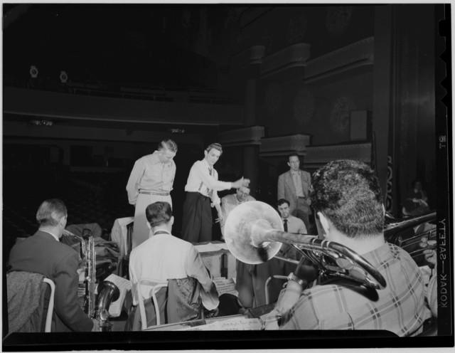 [Portrait of Stan Kenton, Pete Rugolo, and Bob Graettinger, Richmond, Va.(?), 1947 or 1948]