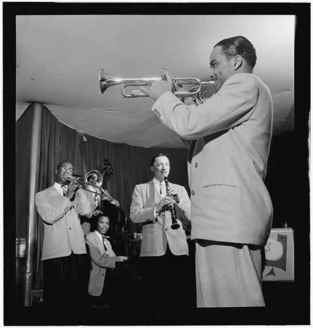 [Portrait of Ted Kelly, Kenny Kersey, Benny Fonville, (Scoville) Toby Browne, and Buck Clayton, Café Society (Downtown), New York, N.Y., ca. June 1947]