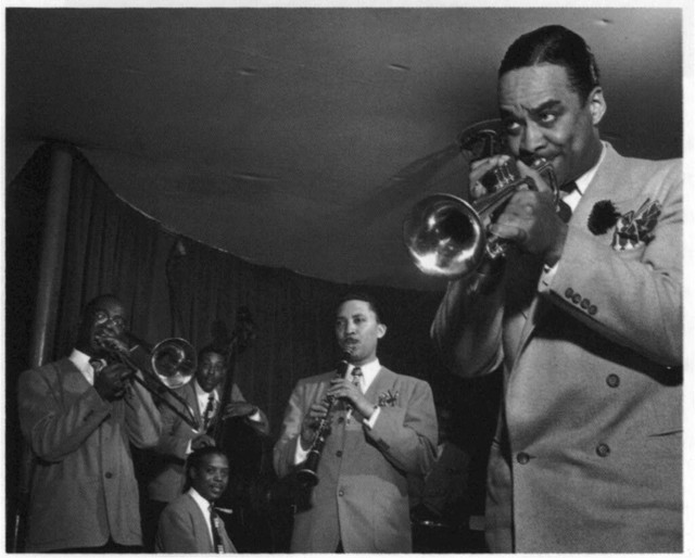 [Portrait of Ted Kelly, Kenny Kersey, Benny Fonville, (Scoville) Toby Browne, Shep Shepherd, and Buck Clayton, Café Society (Downtown), New York, N.Y., ca. June 1947]