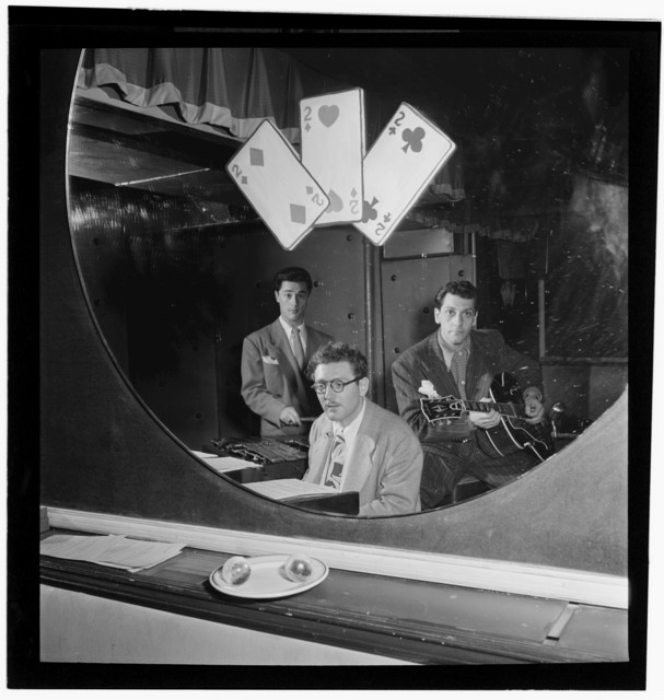 [Portrait of Terry Gibbs, Harry Biss, and Bill (Buddy) De Arango, Three Deuces, New York, N.Y., ca. June 1947]