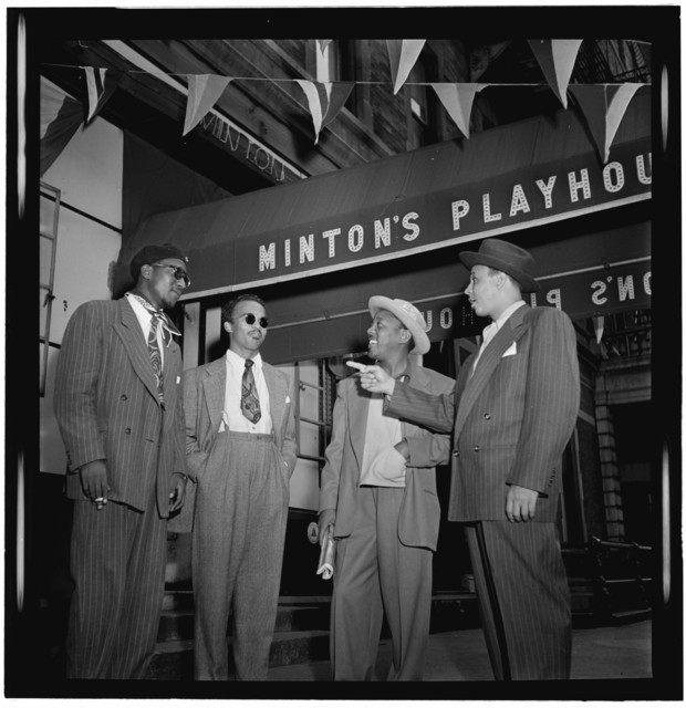 [Portrait of Thelonious Monk, Howard McGhee, Roy Eldridge, and Teddy Hill, Minton's Playhouse, New York, N.Y., ca. Sept. 1947]