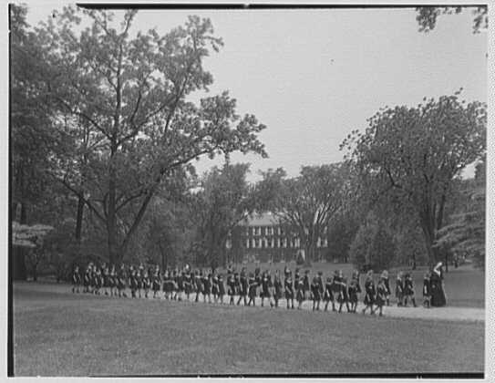 St. Vincent de Paul Institute, 261 S. Broadway, Tarrytown, New York. Children returning from classes