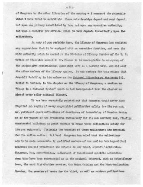 """""""The Library of Congress and the Other Scholarly Libraries of the Nation,"""" by Verner W. Clapp, November 29, 1947"""