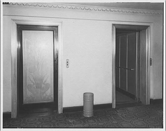 Westchester Apartments. Elevator door of main lobby in Westchester Apartments