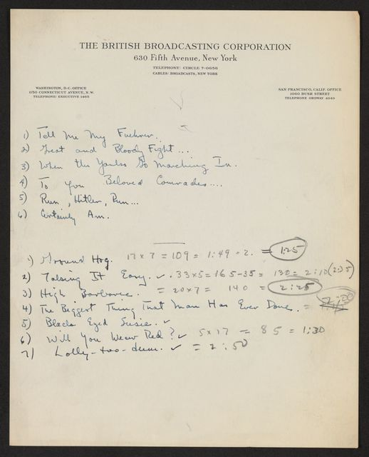 Alan Lomax Collection, Manuscripts, Mutual, 1948, Your Ballad Man