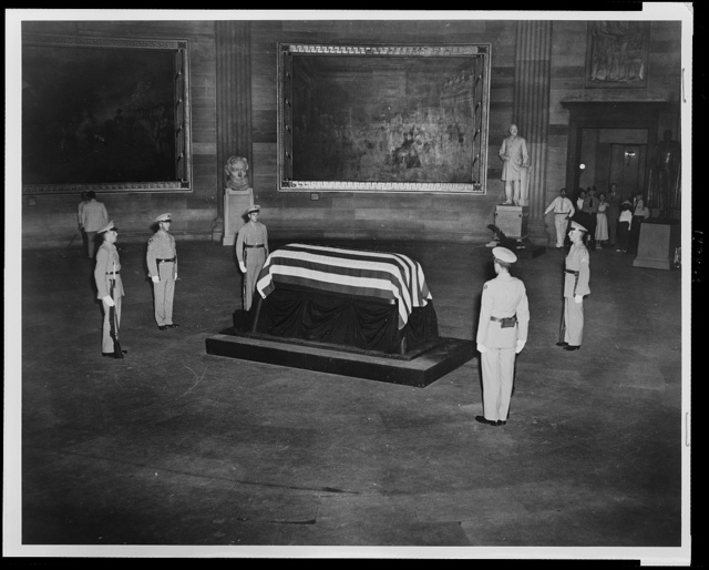 General of the Armies John J. Pershing lies in state in the rotunda of the Capitol, Sunday, July 18, 1948 Guarded by a guard of honor at rigid attention the remains of General Pershing lie in state in the Nation's Capitol where thousands may pay their respects.