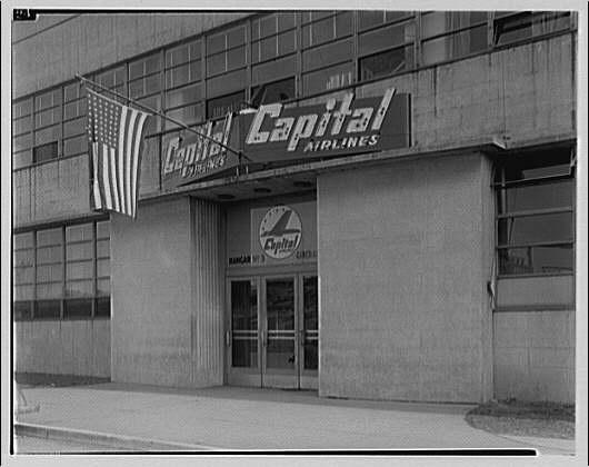 Griffith Consumers Co. Exterior of Capitol Airlines hangar