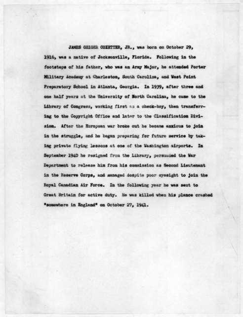 Library of Congress World War II Memorial Program, December 7, 1948
