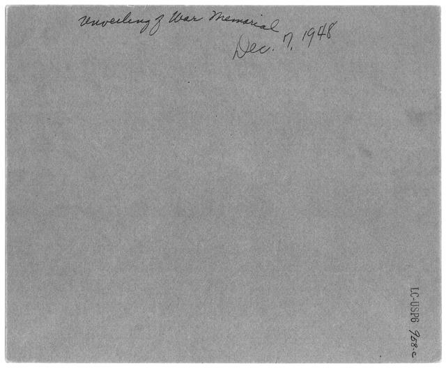 "Photograph of the ""Library of Congress World War II Memorial Dedication,"" December 7, 1948"