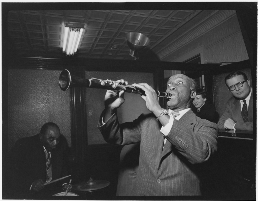[Portrait of Fess Williams and Freddie Moore, William P. Gottlieb's office party, Jamaica, Queens, New York, N.Y., ca. 1948]