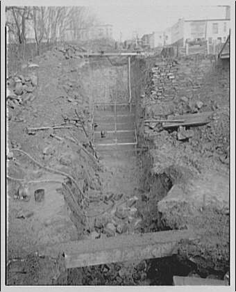 Potomac Electric Power Co. miscellaneous. Trench for cable across Chesapeake and Ohio (C&O) Canal at 34th St. after blasting I