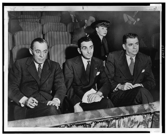 Richard Rodgers, Irving Berlin and Oscar Hammerstein II, seated in back is Helen Tamiris, they are watching hopefuls who are being auditioned on stage of the St. James Theatre [...] / World Telegram photo by Al Aumuller.