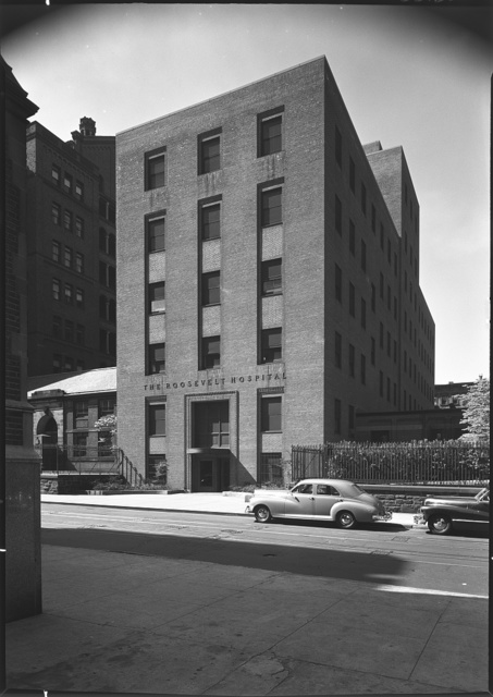 Roosevelt Hospital, 59th St., New York City. General view of building