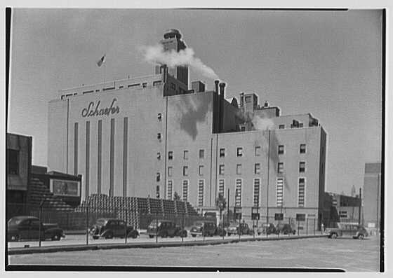 Schaefer's Brewery, Kent Ave., Brooklyn. View from parking lot