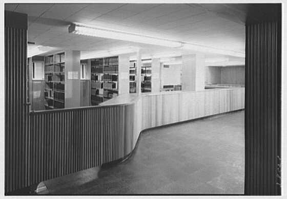 Lamont Library, Harvard University, Cambridge, Massachusetts. First level entrance