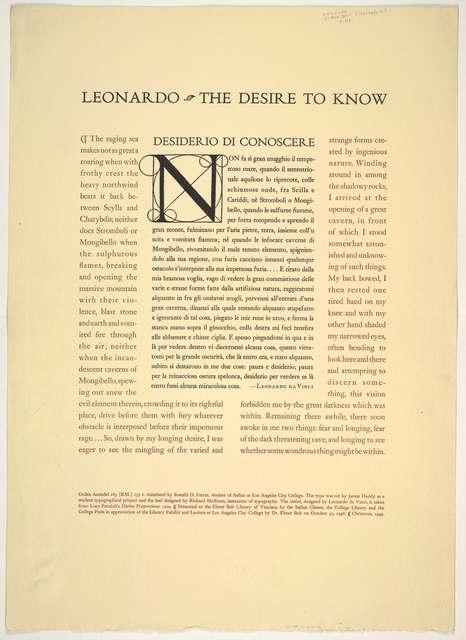 Leonardo, the desire to know, desidero di Conoscere.