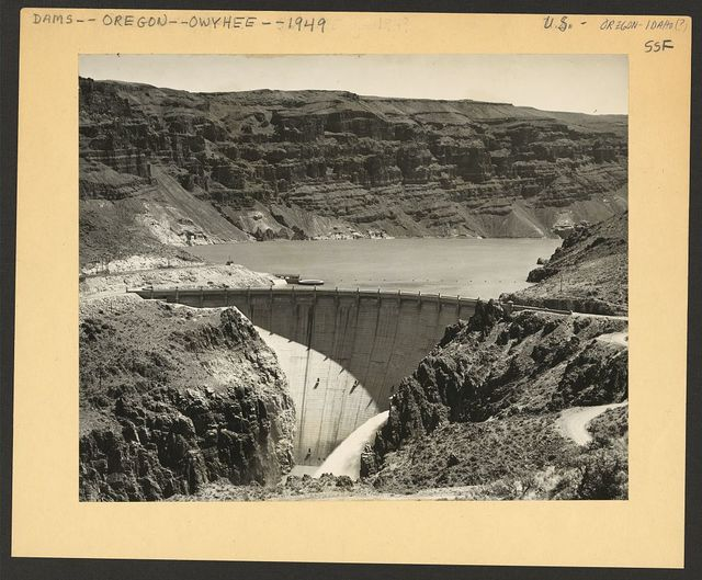[Owyhee project, dam and reservoir, with bluffs in the background, Malheur County, Oregon]