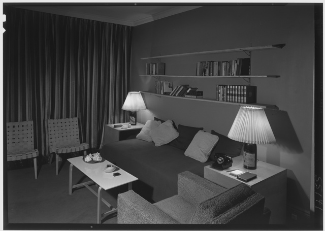 Russel Wright, residence and business at 221 E. 48th St., New York City. Apartment D, view towards bookshelves