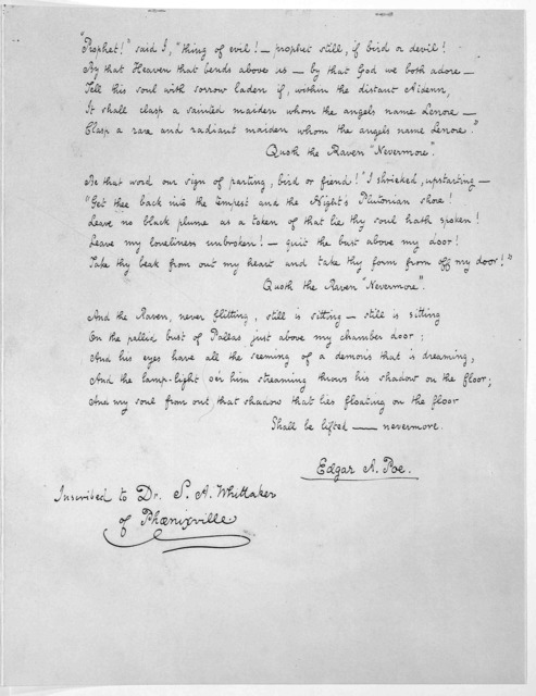 The raven. [Facsimile of a manuscript] exhibited for the first time at Yale University Library in honor of the 150th birthday celebration of Edgar Allan Poe. Courtesy of Richard Gimbel. [New Haven? 1949?].