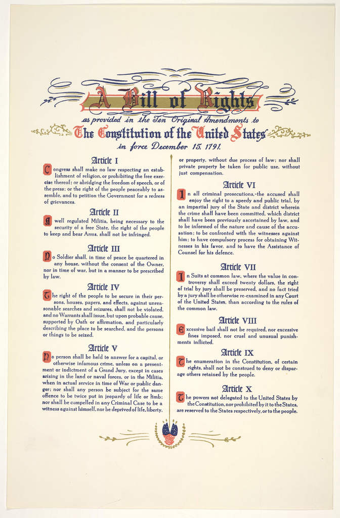 A bill of rights as provided in the ten original amendments to the constitution of the United States in force December 15, 1791. [n. p. 195-].
