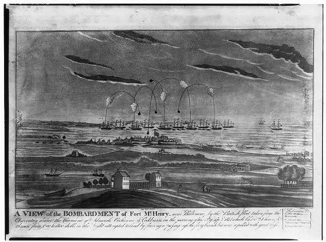 A view of the bombardment of Fort McHenry, near Baltimore, by the British fleet, taken from the obsesrvatory under the command of Admirals Cochrane & Cockburn, on the morning of the 13th of Sept. 1814 ... / J. Bower sc Phila.