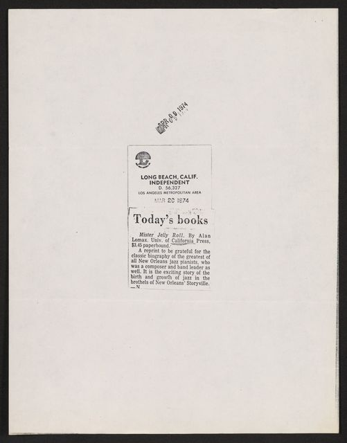 Alan Lomax Collection, Manuscripts, Mister Jelly Roll, 1950