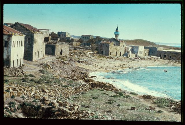 Along the Mediterranean coast, southward. Caesarea, village and bay. Acts 10:1, 23:33