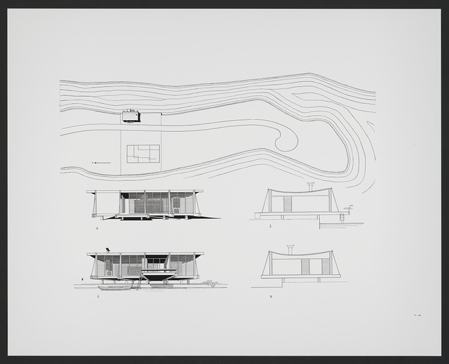 [Cocoon house (Healy guest house), Siesta Key, Florida. Site plan and elevations]
