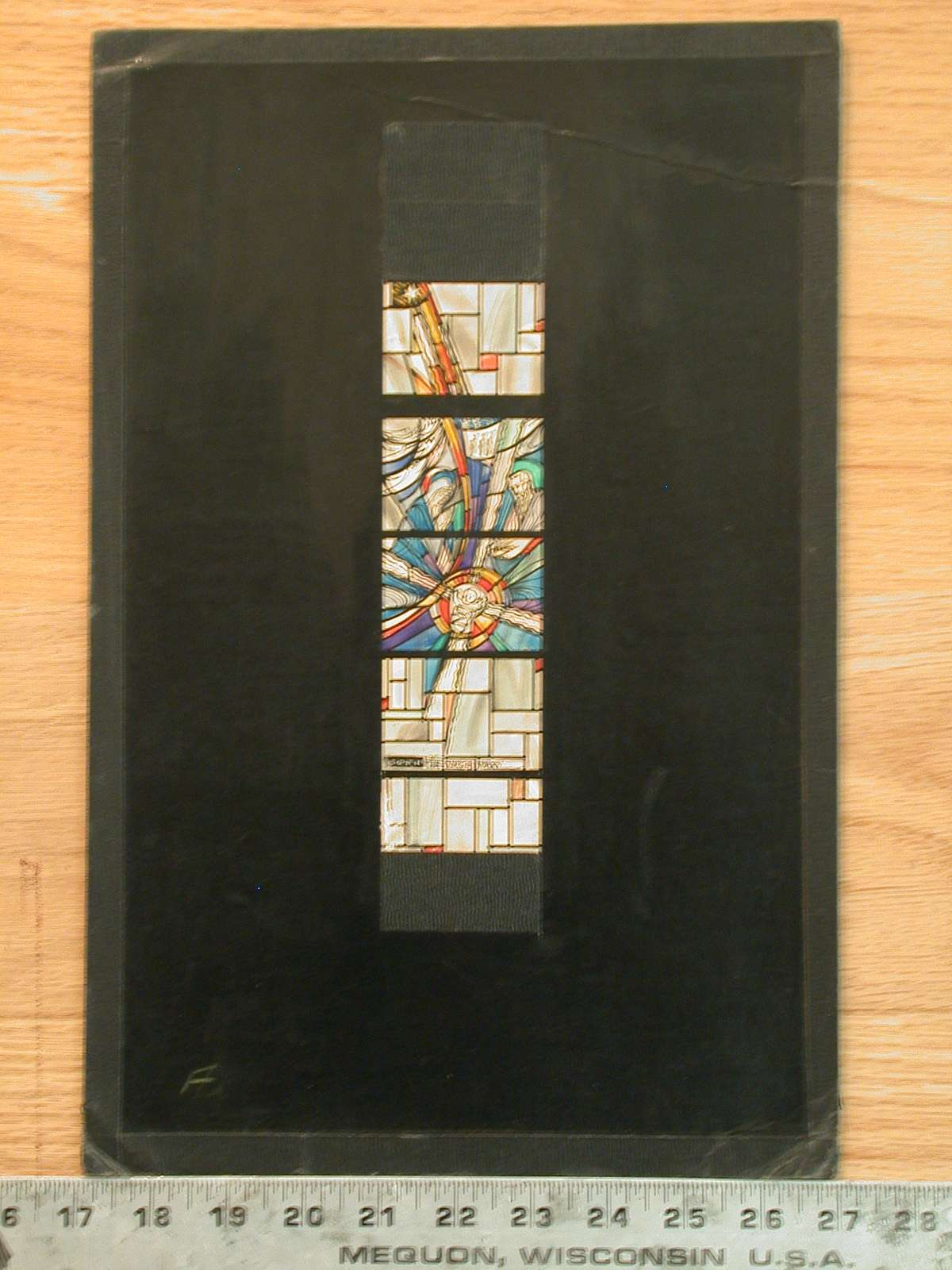 Design drawing for stained glass window for St. Louis Church, with Born of the Virgin Mary and an abstracted Nativity on mid grid