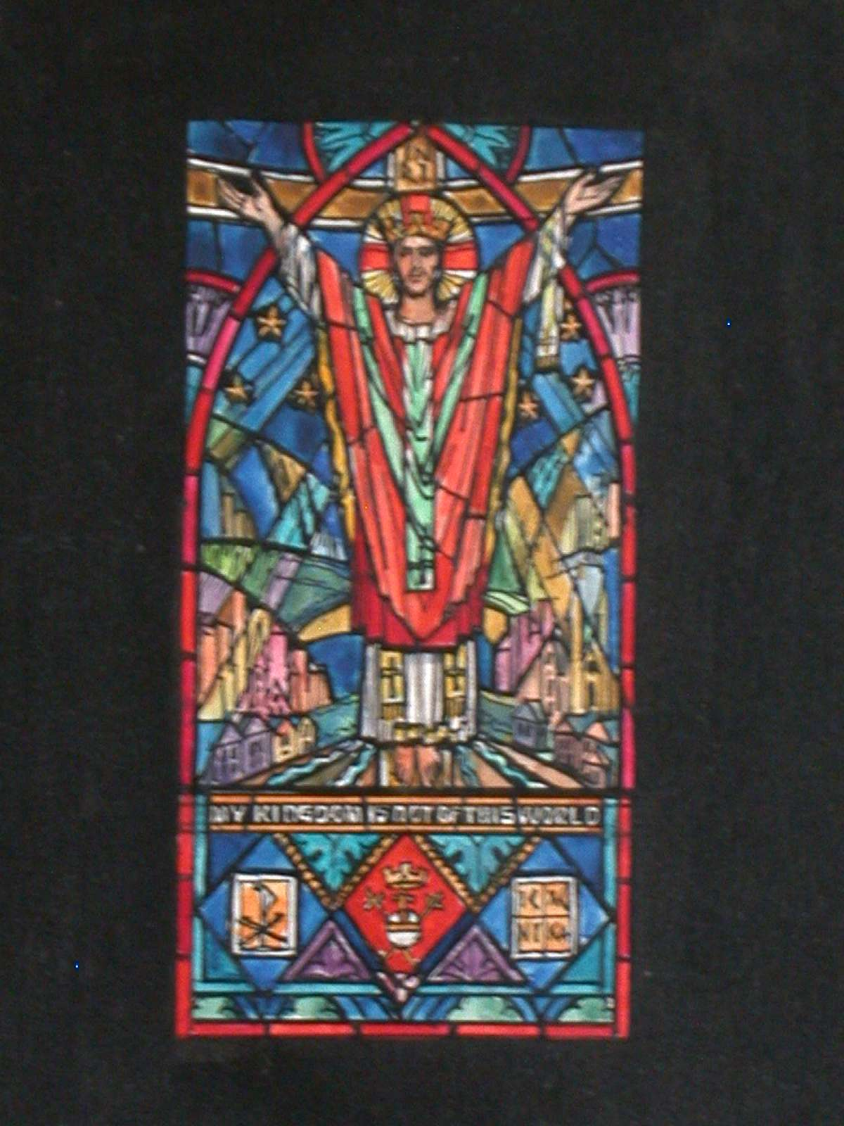 """Design drawing for stained glass window with text """"My Kingdom is not of this World,"""" showing resplendent, crowned Christ on Cross with stars, architecture, Chiro, etc. for Emmanuel Episcopal Church in Bristol, Virginia"""