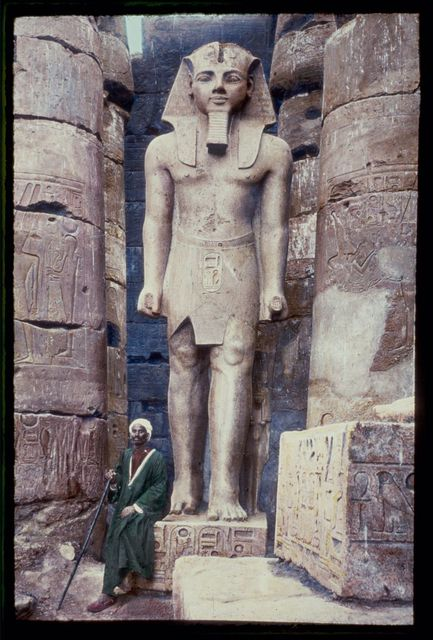 Egypt. Luxor. Statue of Rameses II [i.e., Ramses II] in Temple of Luxor
