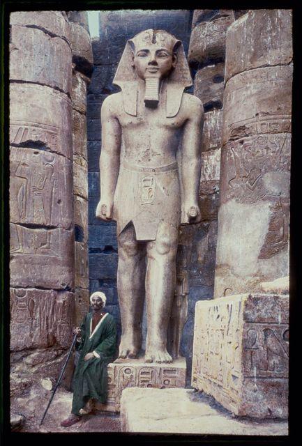 Egypt. Luxor. Statue of Rameses II [i.e., Ramses II] in Temple of Luxor