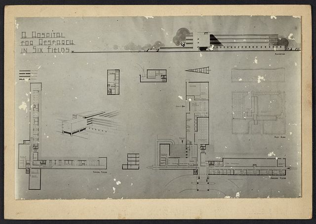 [Hospital for research in six fields. Plans, elevations, and perspective rendering]
