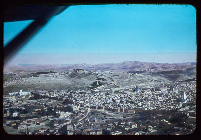 Jerusalem. North side, Gordon's Calvary, Olivet, Wilderness of Judea, Dead Sea and Mts. of Moab. Air