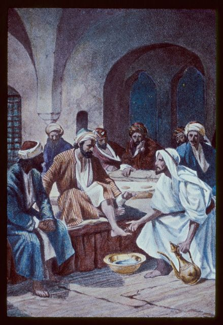 John 13:1-10. Jesus, with the twelve, partaketh of the passover feast in an upper chamber. He teacheth humility by washing the disciples' feet
