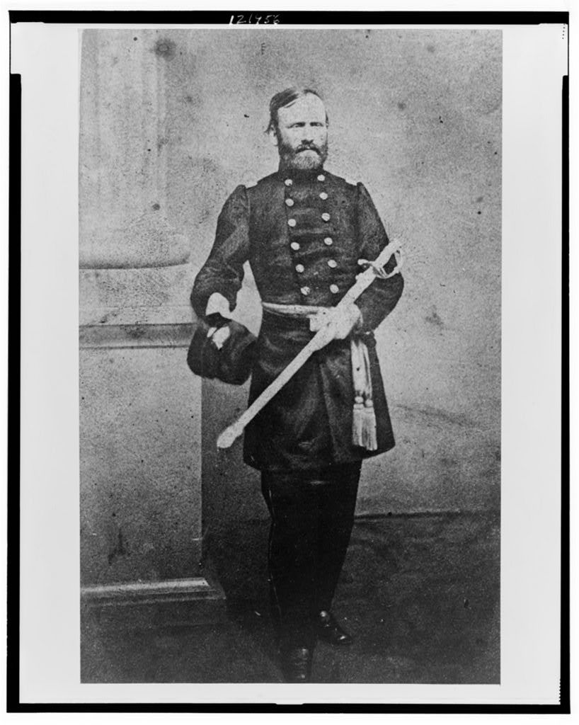 [John Marshall Harlan, full-length portrait, standing, in uniform and holding sword and hat]