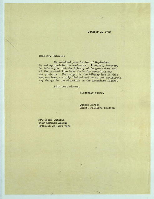 Letter from Duncan Emrich to Woody Guthrie, October 2, 1950