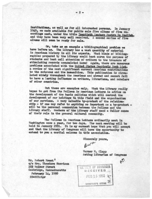 Letter from Verner W. Clapp to Robert Frost, February 15, 1950