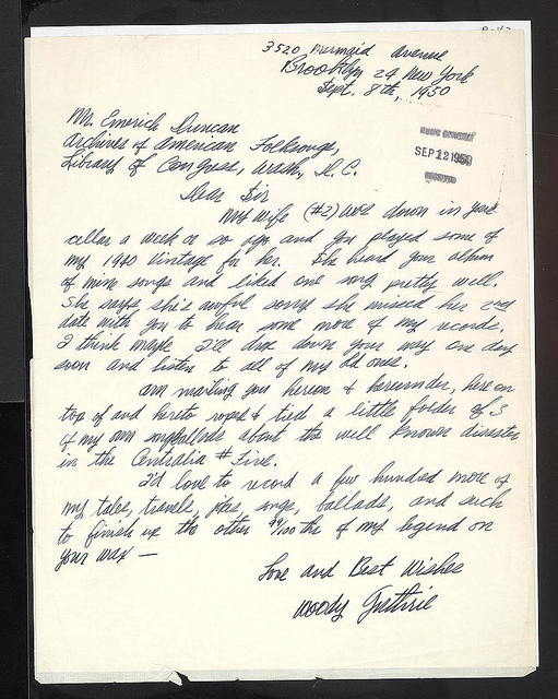 Letter from Woody Guthrie to Duncan Emrich, September 8, 1950