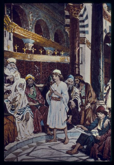 Luke 2:41-50. Jesus goeth up with his parents to the Passover at the age of twelve years; and tarreith behind the temple, seeking instruction from the doctors of the law