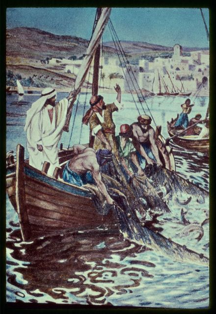 Luke 5:4-7. The preaching ended, Jesus commendeth Simon Peter to let down his net in deep water, which being done, a great multitude of fishes is enclosed