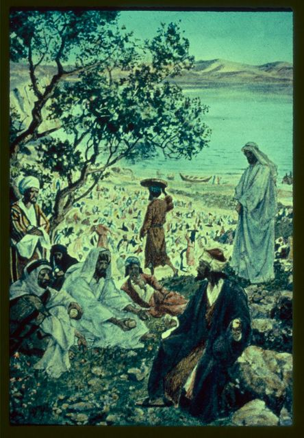 Mark 6:31-44. Jesus seeing the multitude, is moved with compassion and miraculously feedeth them