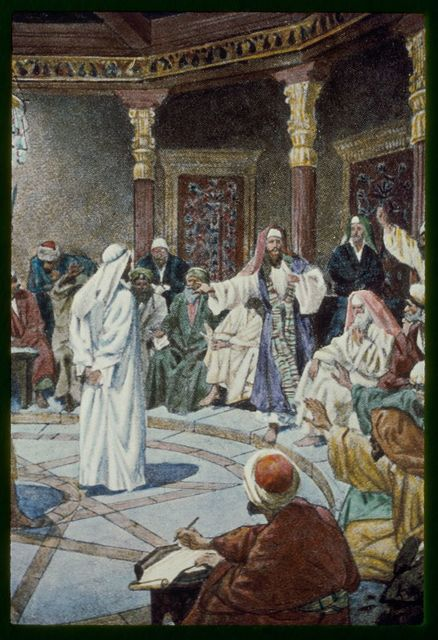 Matt. 24:57-66. Jesus brought before Caiaphas and the council, is accused of blasphemy and condemned